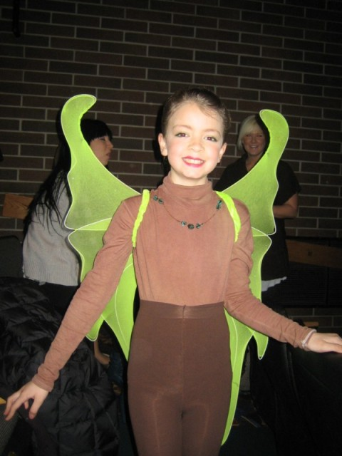 Megan as a katydid in Charlotte's Web