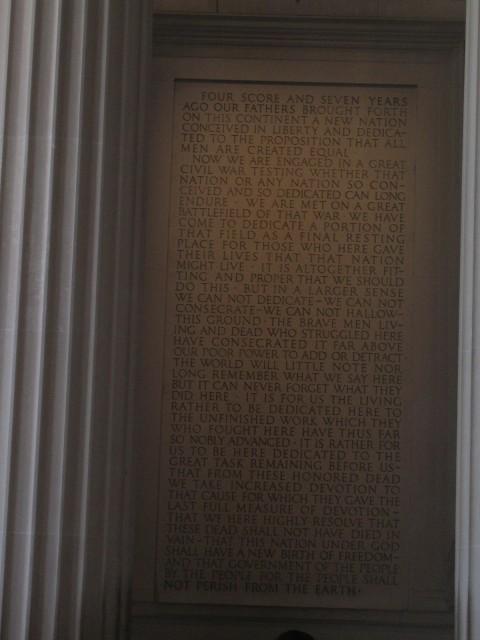 Gettysburg Address at Lincoln Memorial