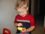 Playing with a Pooh music box