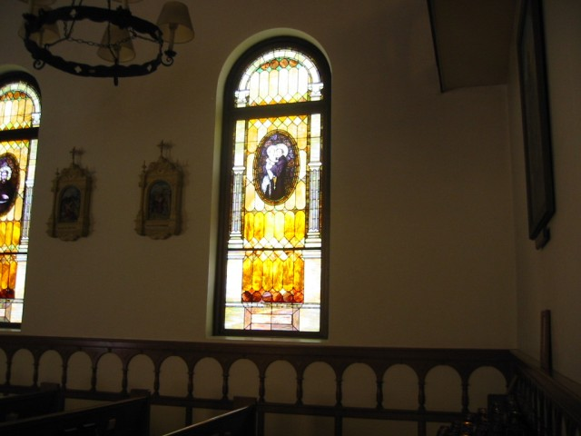 Beautiful stained glass window in Catholic Church