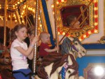 The kids on the merry go round