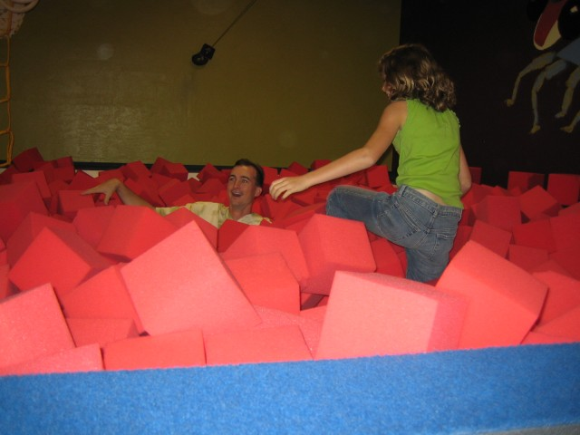 Brian and Kelsey in the foam pit