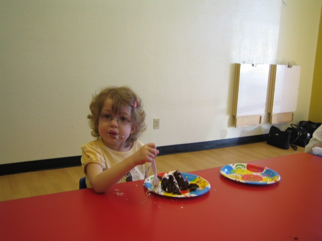 Eating (gluten free) chocolate cake