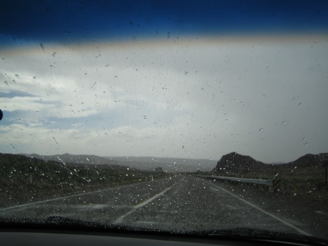 Heading out on our trip Rain in southern Utah