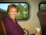Glenda on the train from Trenton to NYC