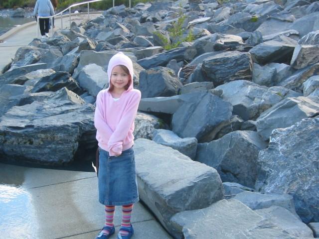 Megan on walkway at Portage Glacier