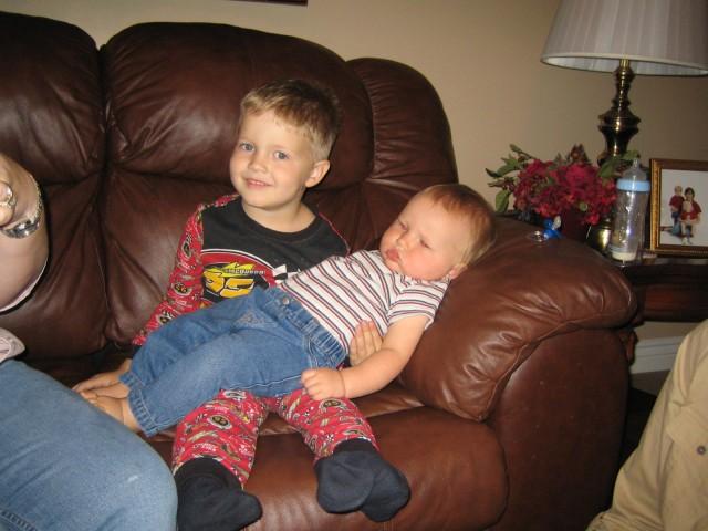 Nathan holding Carsten