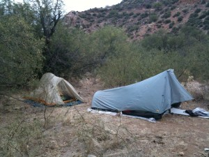 Dale's tent on the right and mine on the left