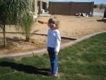 Lauren in back yard