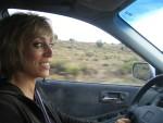 Glenda takes a turn at the wheel
