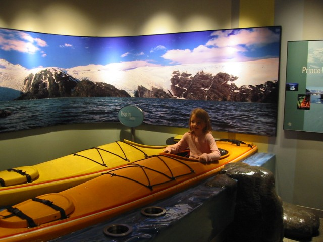 Megan in a canoe at Visitor's Center