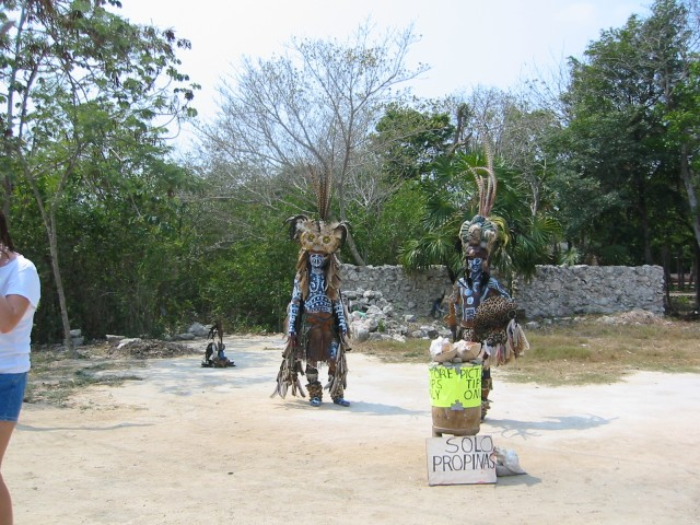 Mayan warriors in full costume (outside the federal park)